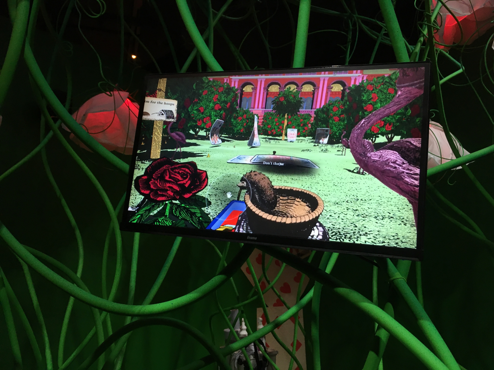 Visitors can play croquet in 'Curious Alice', a Virtual Reality game.
