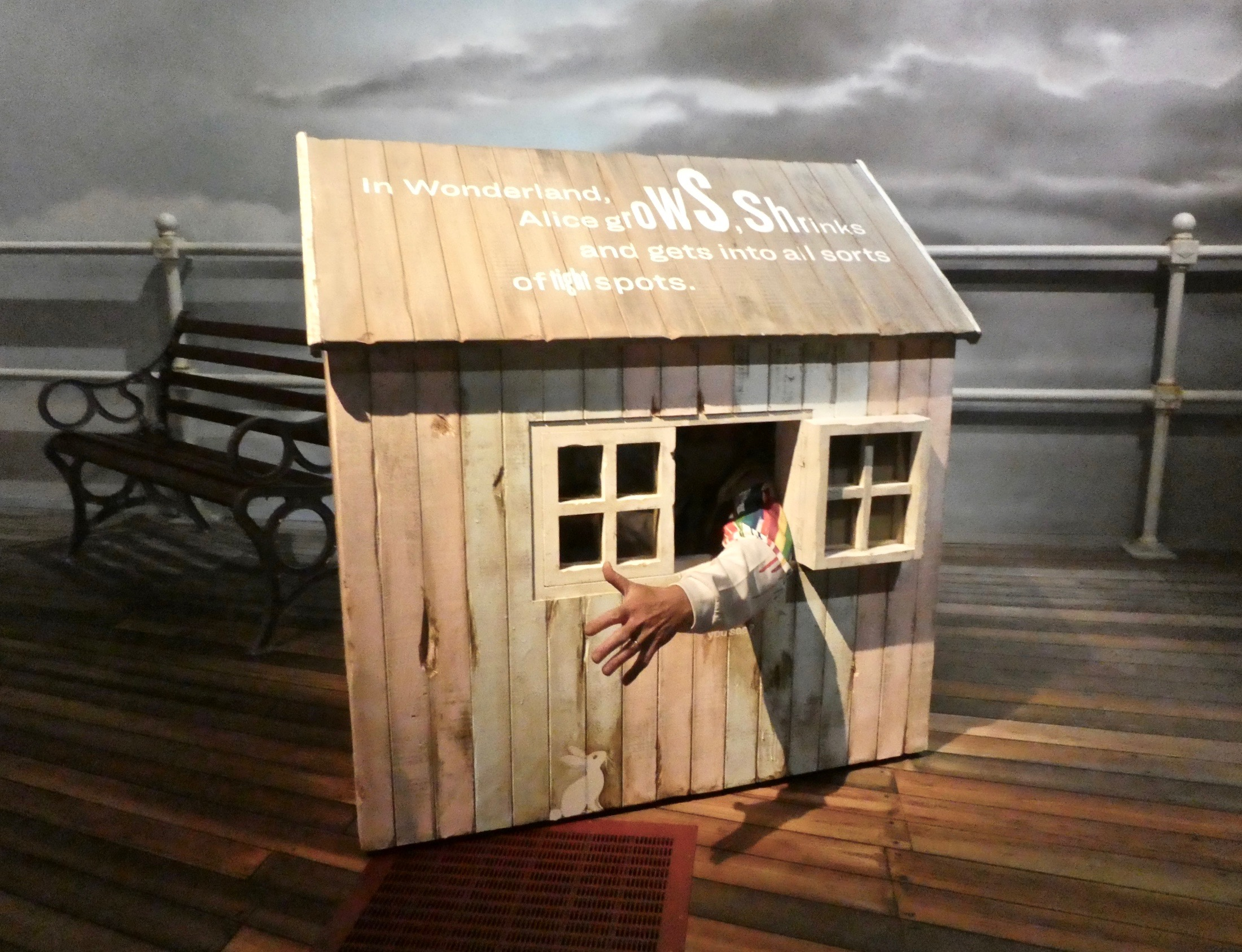 An unwary visitor gets stuck (like Alice) in White Rabbit's house!