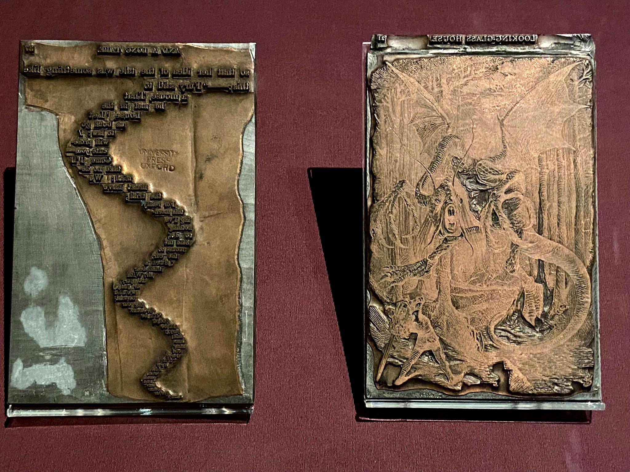 Copper-plated lead printing blocks for 'The Mouse's Tail' and the Jabberwock